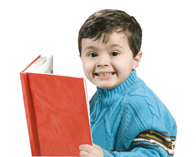 Boy is excited about holding a book in his hands