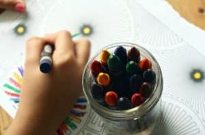 crayons and coloring book